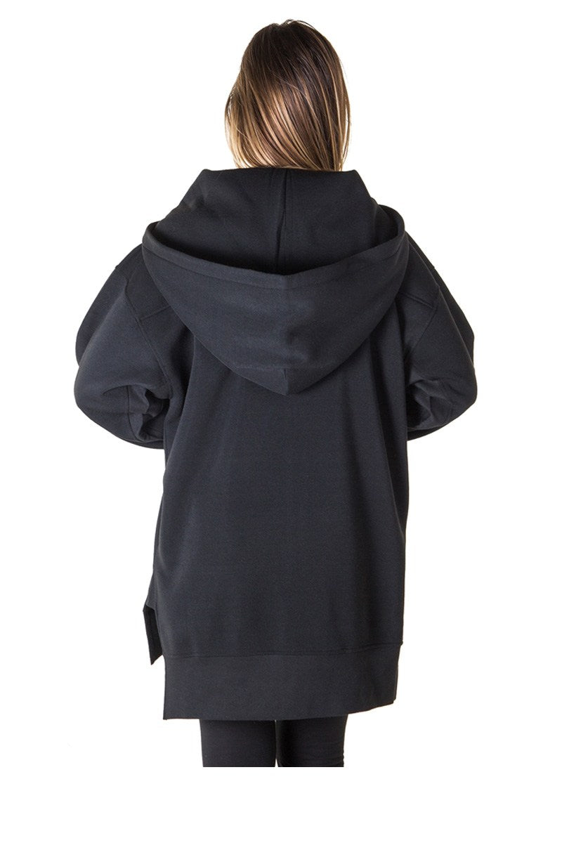 Ladies fashion fleece zip up sweatshirt oversize long hoodie outerwear jacket with applique - CYFASHION