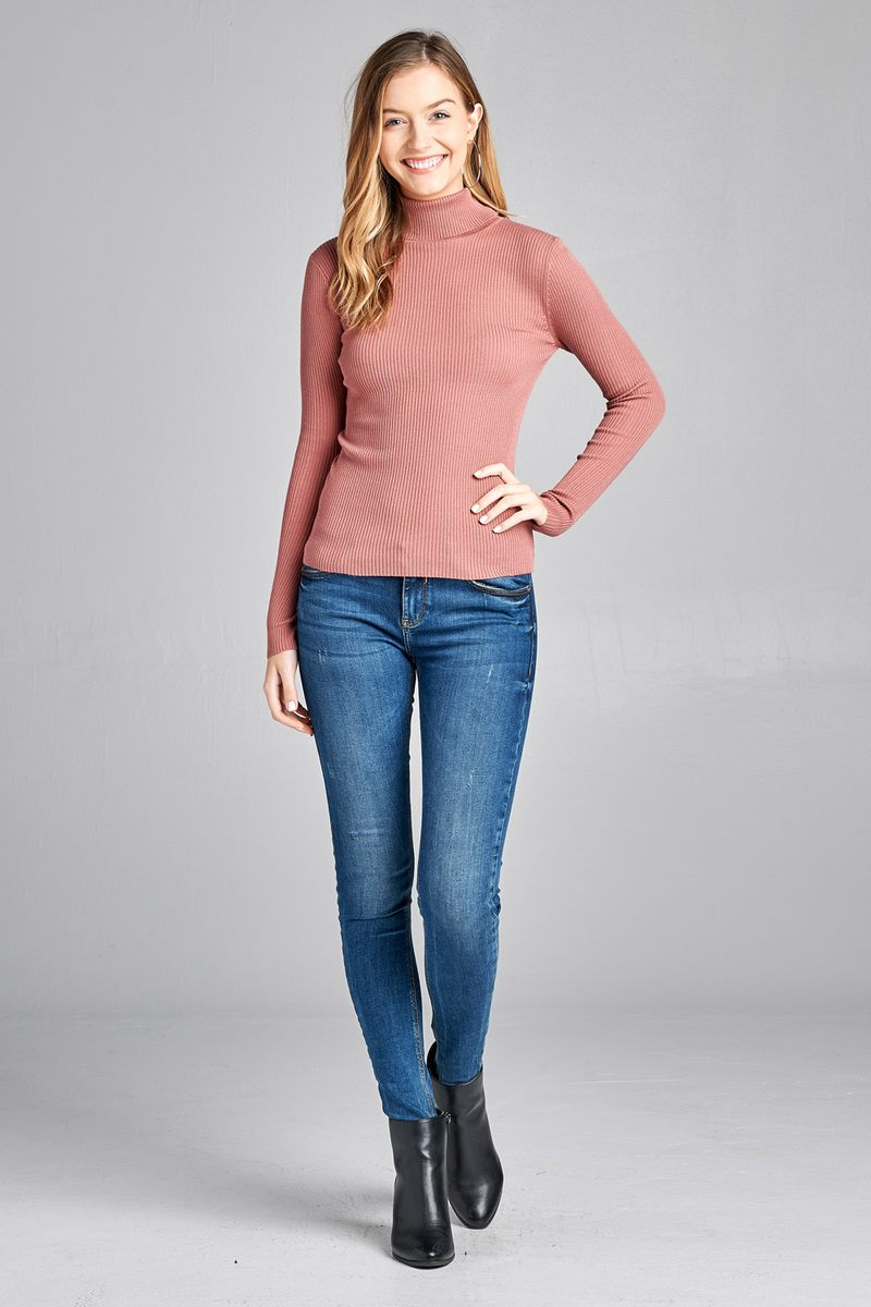 Ladies fashion plus size long sleeve turtle neck fitted rib sweater top - CYFASHION