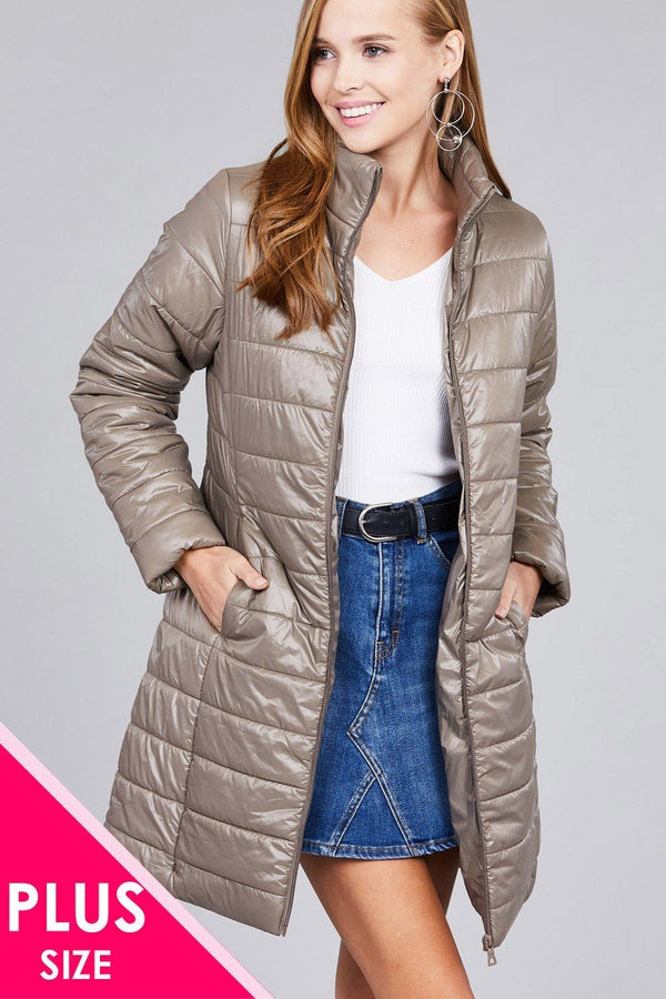 Ladies fashion plus size long sleeve quilted long padding jacket - CYFASHION
