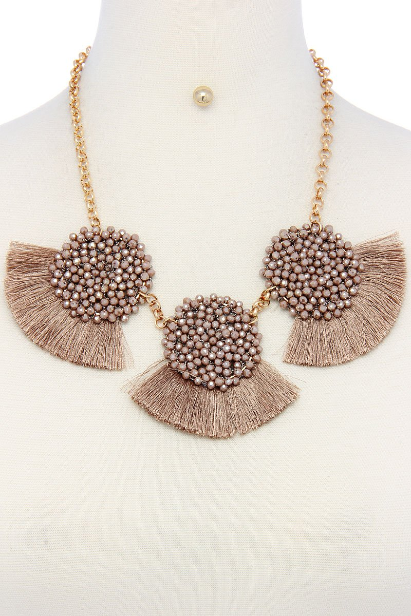 Multi pattern fashion necklace and earring set - CYFASHION