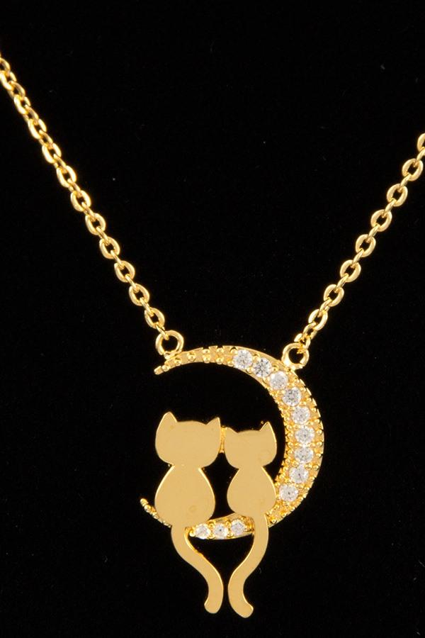 Love cat sit on moon pendant necklace - CYFASHION