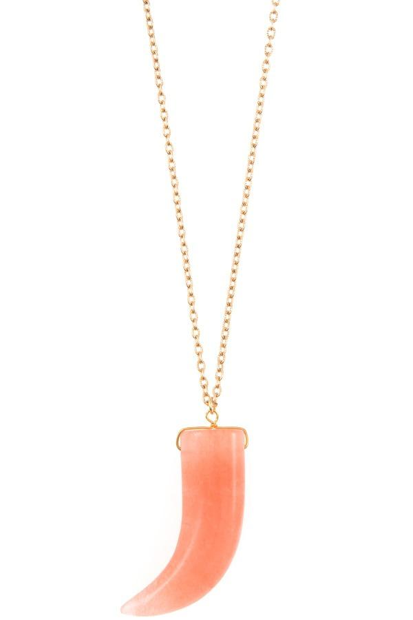 Elongated single horn pendant necklace - CYFASHION