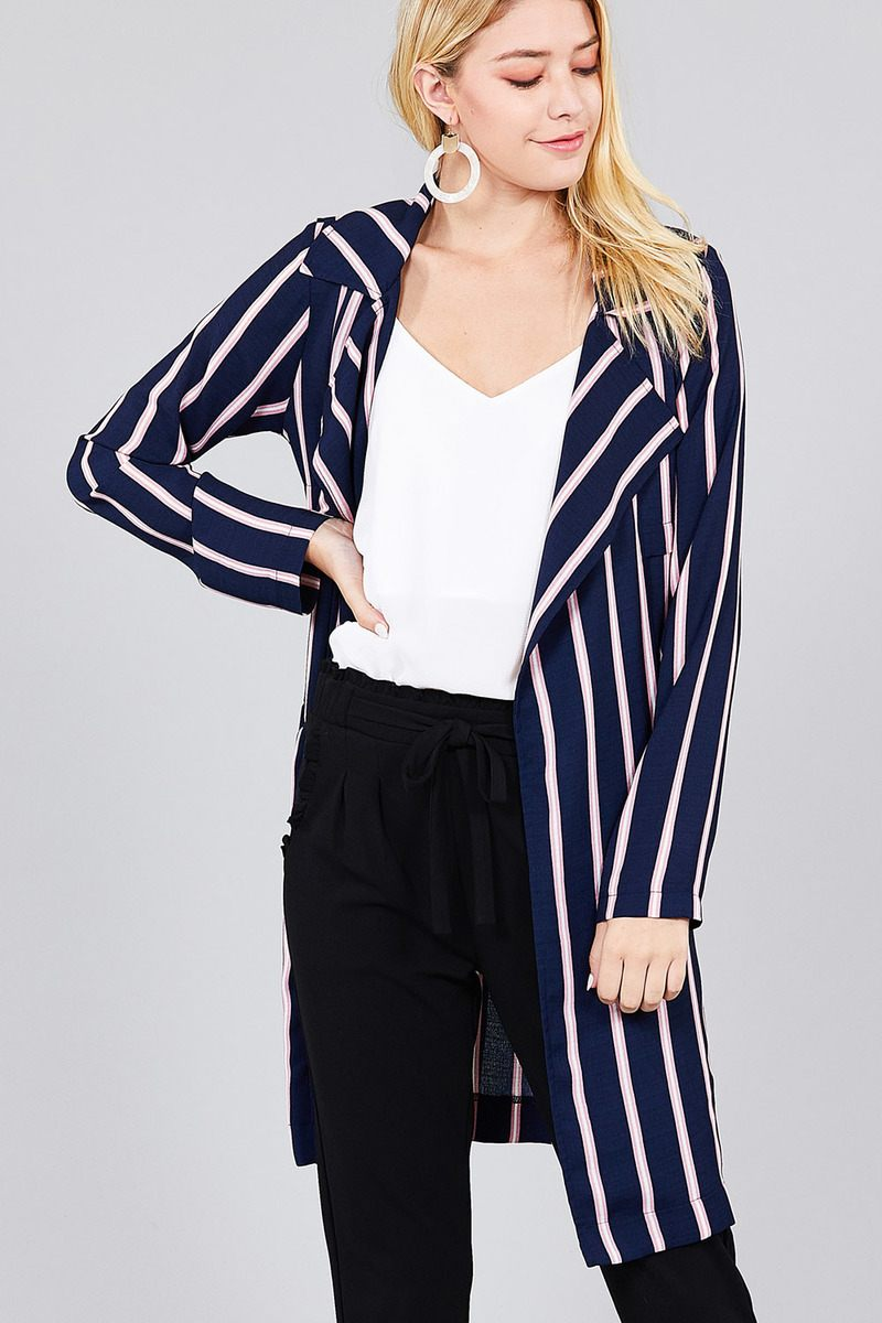 Ladies fashion long sleeve notched collar w/waist belt multi striped long woven jacket - CYFASHION