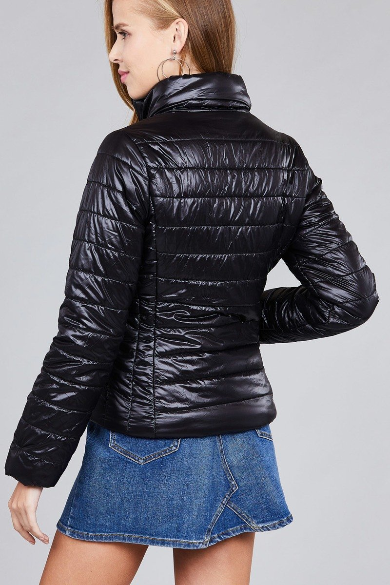 Ladies fashion plus size long sleeve quilted padding jacket - CYFASHION