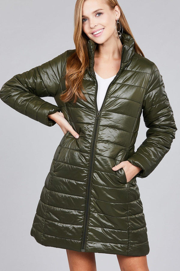 Long sleeve quilted long padding jacket - CYFASHION