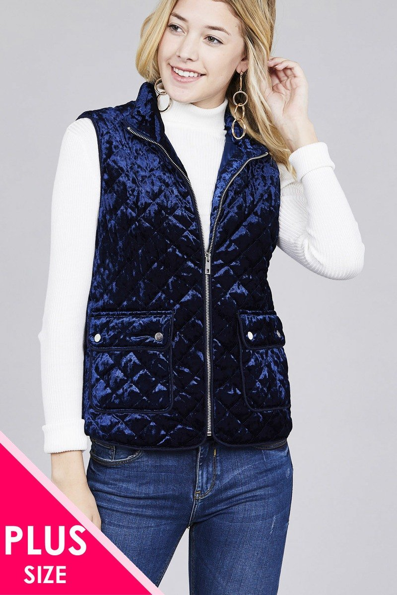 Quilted Padding W/suede Piping Detail Velvet Vest - CYFASHION