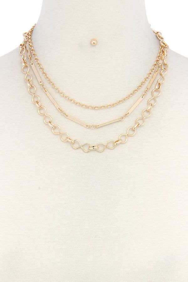 Metal Chain Layered Necklace - CYFASHION
