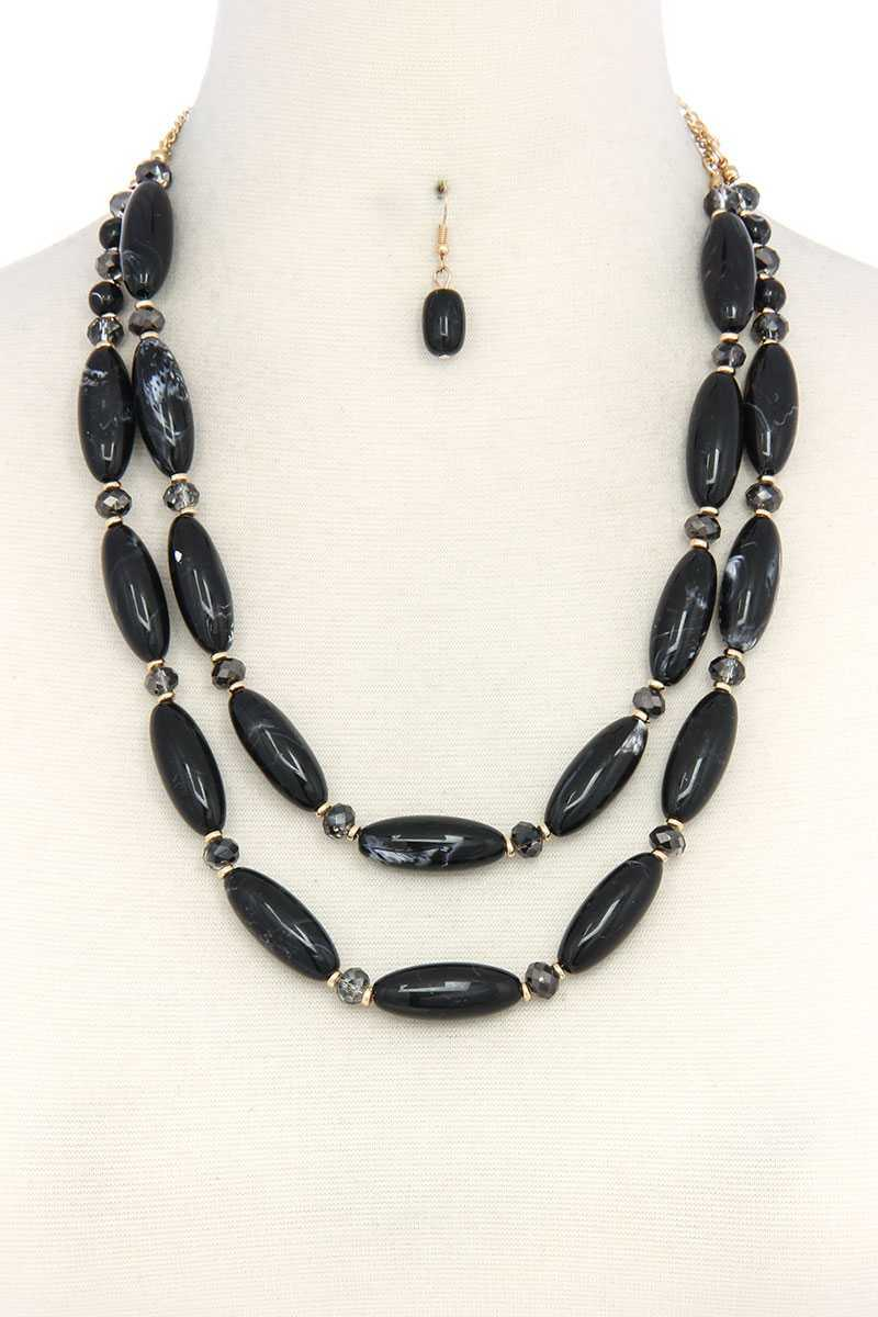 Oval Bead Layered Necklace - CYFASHION