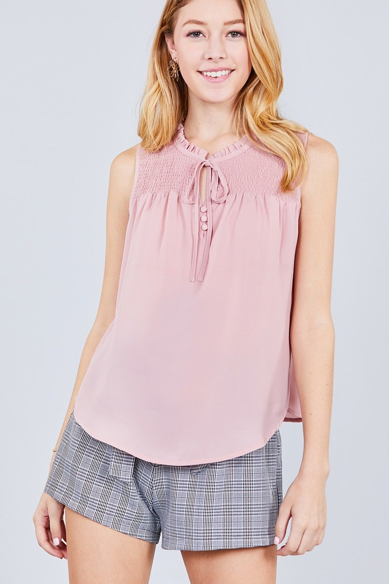 Sleeveless Ruffle Neck W/self Tie Smocked Yoke Detail Front Button Woven Top - CYFASHION