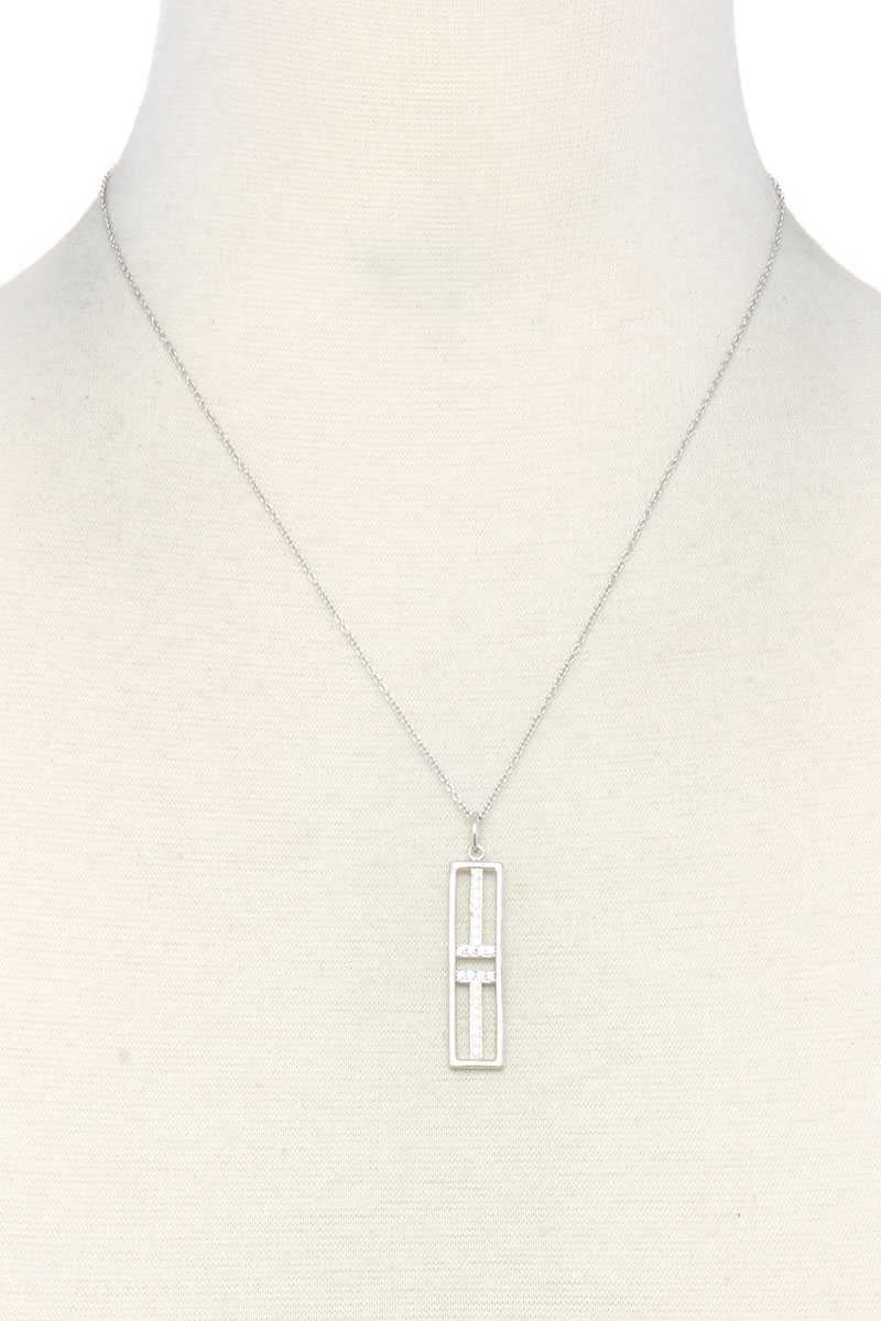 Metal Rectangular Shape Pendant Necklace - CYFASHION