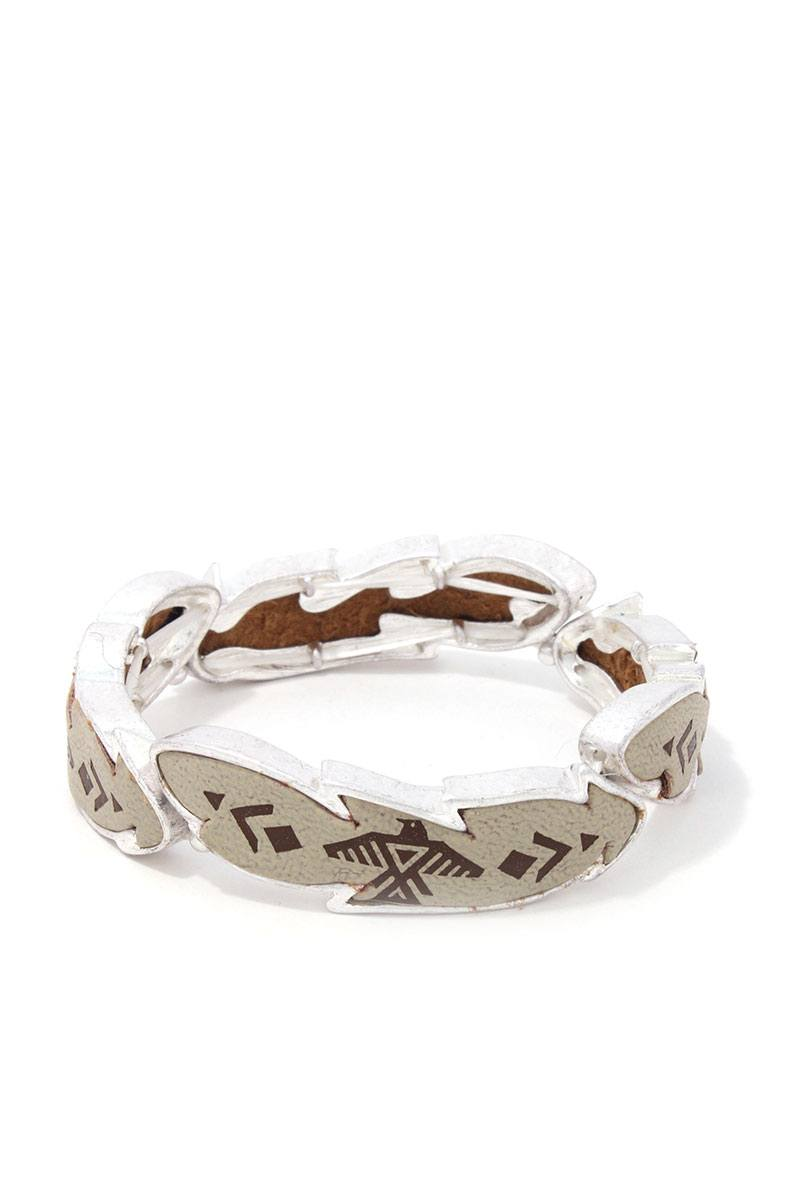 Aztec Stamped Stretch Bracelet - CYFASHION