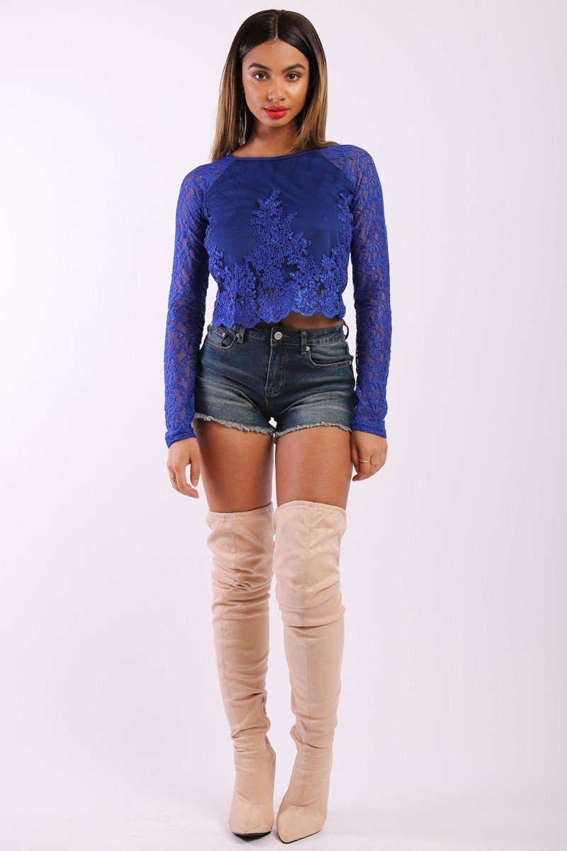 Solid Lace Top With Long Sleeves And Round Neck - CYFASHION