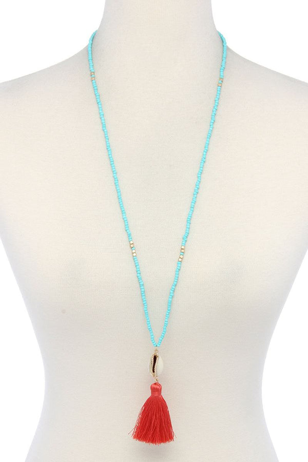Cowrie Shell Tassel Beaded Necklace - CYFASHION