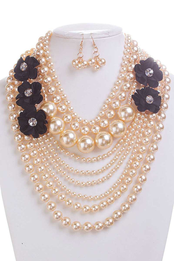 Pearl With Flower Necklace And Earring Set - CYFASHION