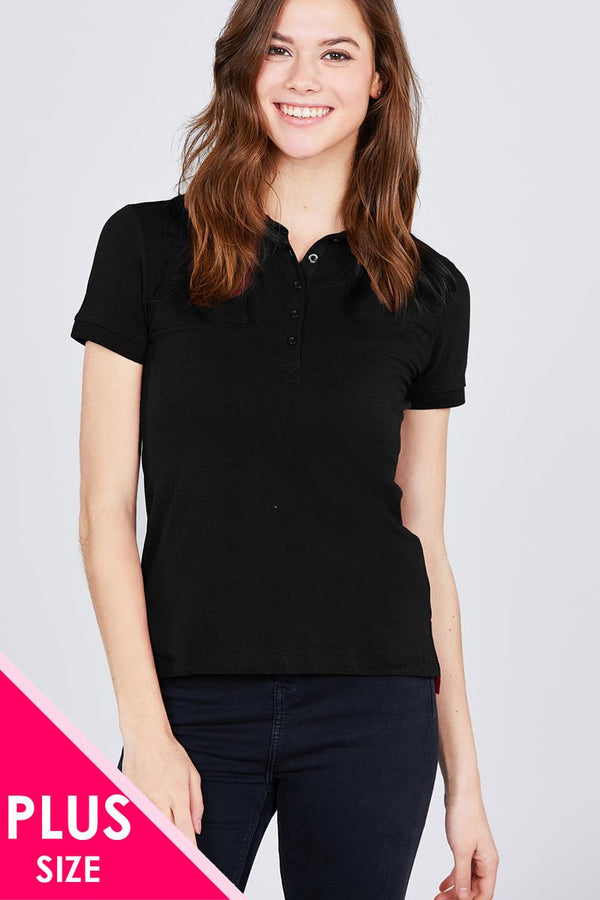 Classic Jersey Spandex Polo Top - CYFASHION