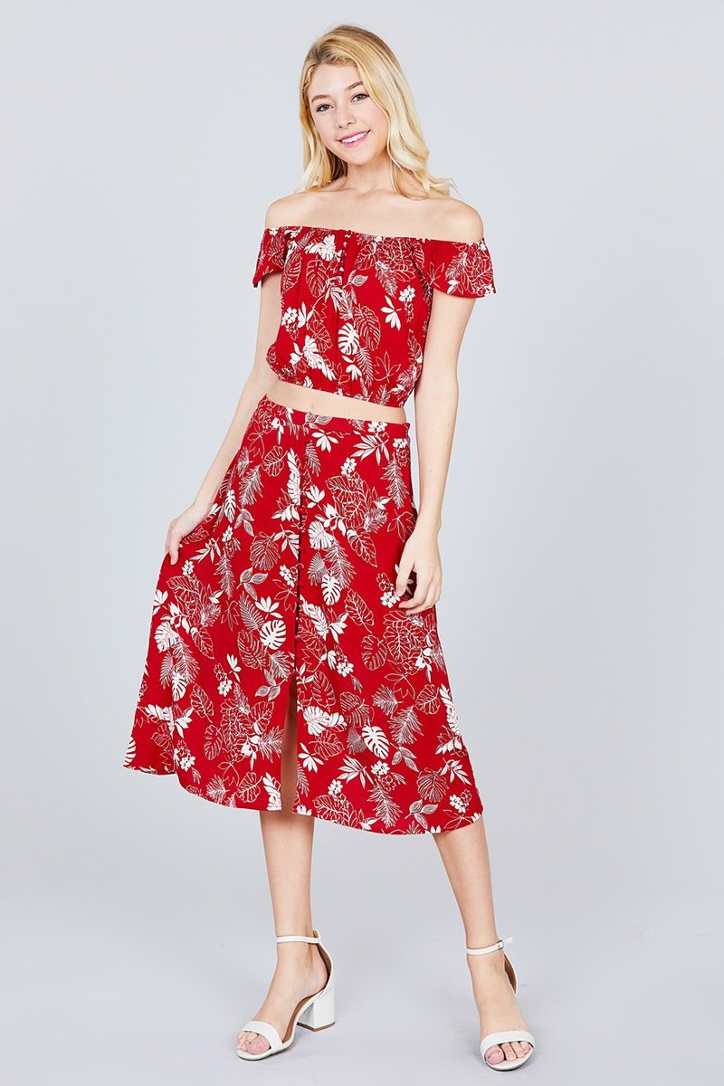 Tulip Sleeve Off The Shoulder Button Down Crop Top And Button Down Midi Skirt Set - CYFASHION