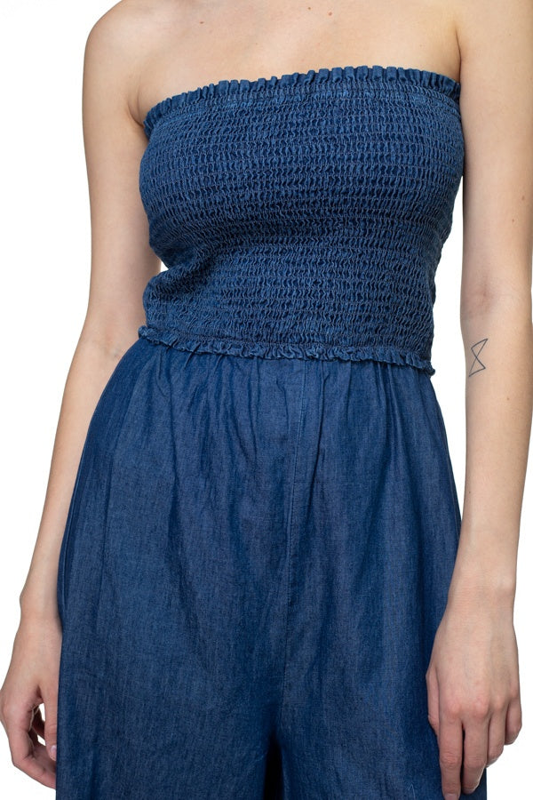 Smocked Tube Top Jumpsuit - CYFASHION