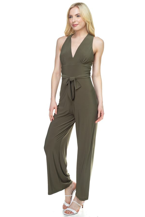 Strapless Belted Jumpsuit - CYFASHION
