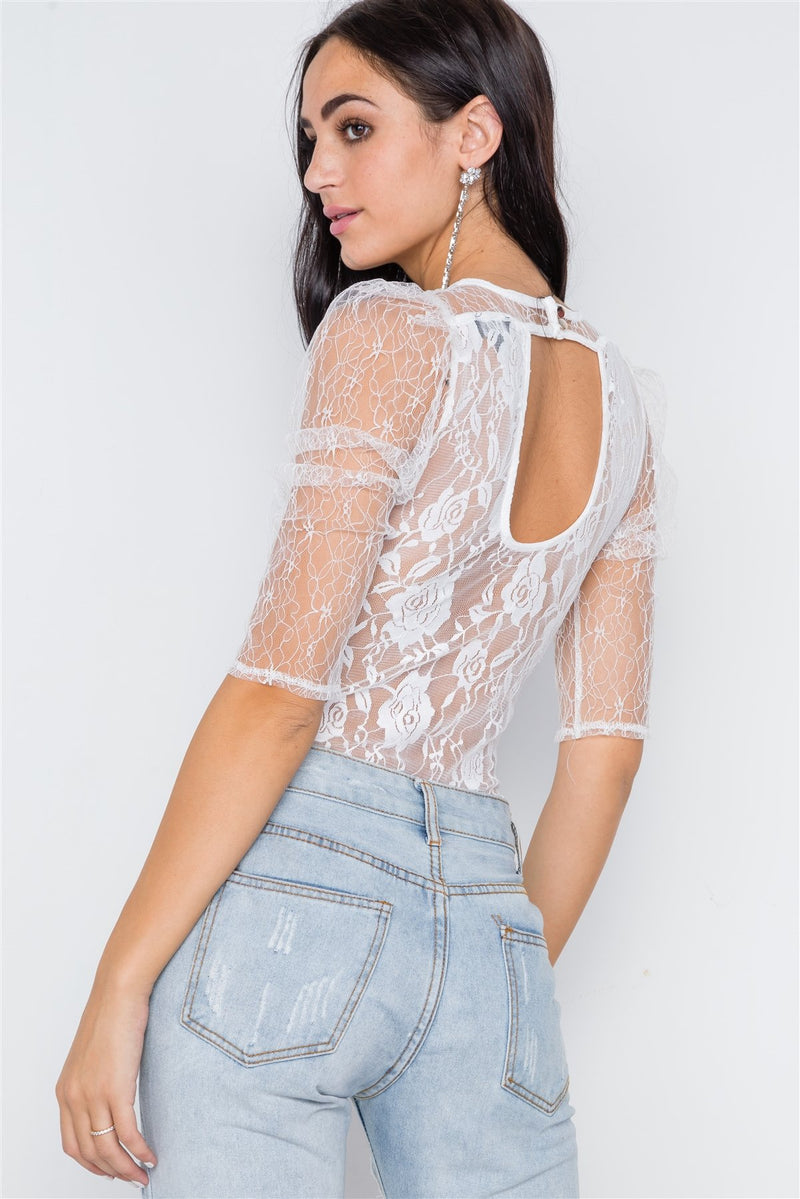 Floral Lace Combo Sheer Evening Bodysuit - CYFASHION
