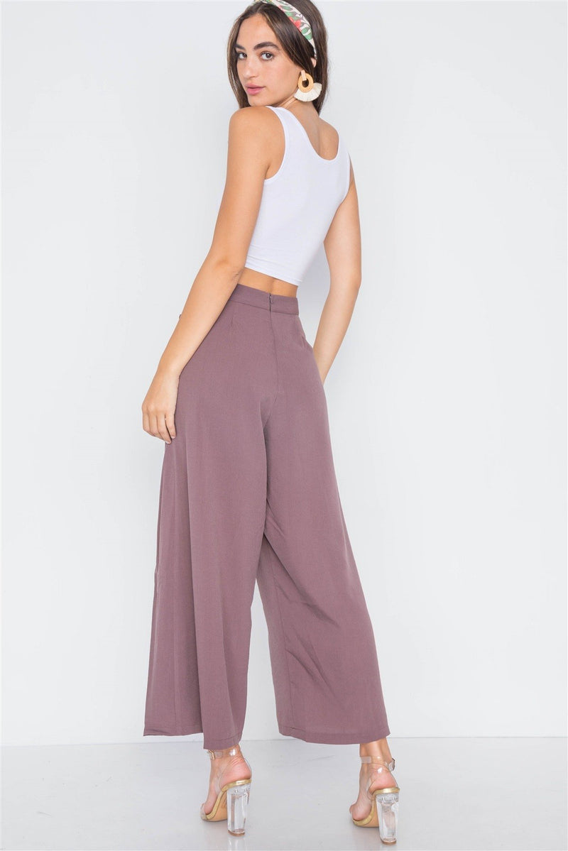 High-waist Front-tie Wide Leg Pants - CYFASHION