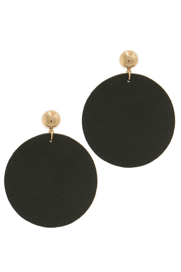 Leather Circle Post Drop Earring - CYFASHION
