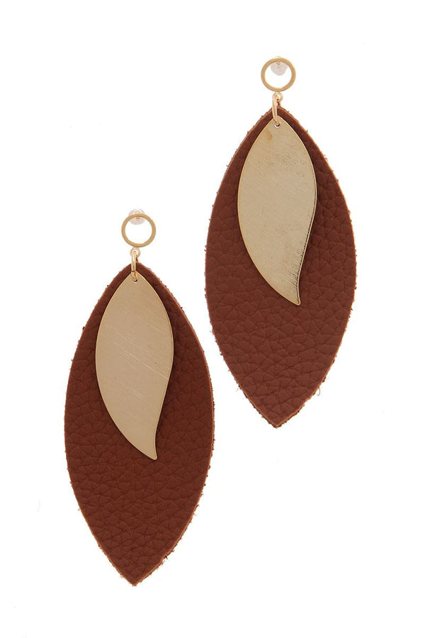 Leather Pointed Oval Post Drop Earring - CYFASHION