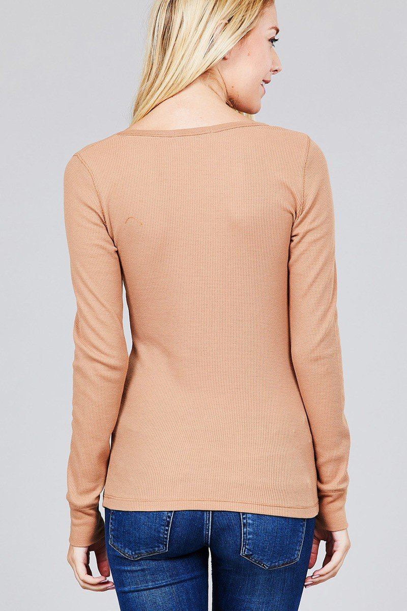 Long Sleeve V-neck Thermal Top - CYFASHION