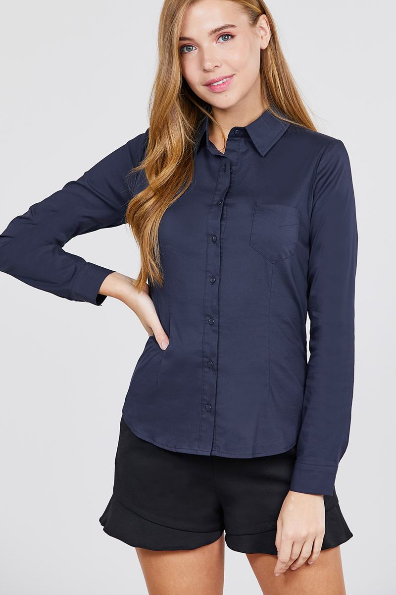 Long Sleeve Princess Line One Side Pocket Button Down Woven Shirts - CYFASHION