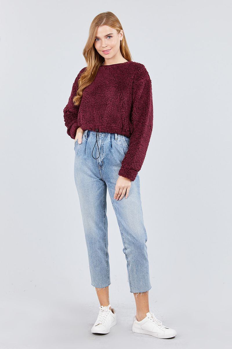 Long Dolman Sleeve Round Neck Toggle Elastic Hem Faux Fur Top - CYFASHION