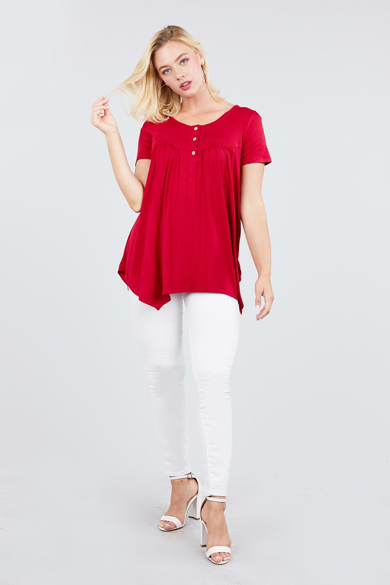 Short Sleeve Scoop Neck W/button Shirring Detail Rayon Spandex Top - CYFASHION