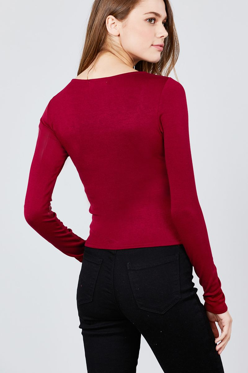 Long Sleeve Scoop Neck Front Button Detail Rib Knit Top - CYFASHION