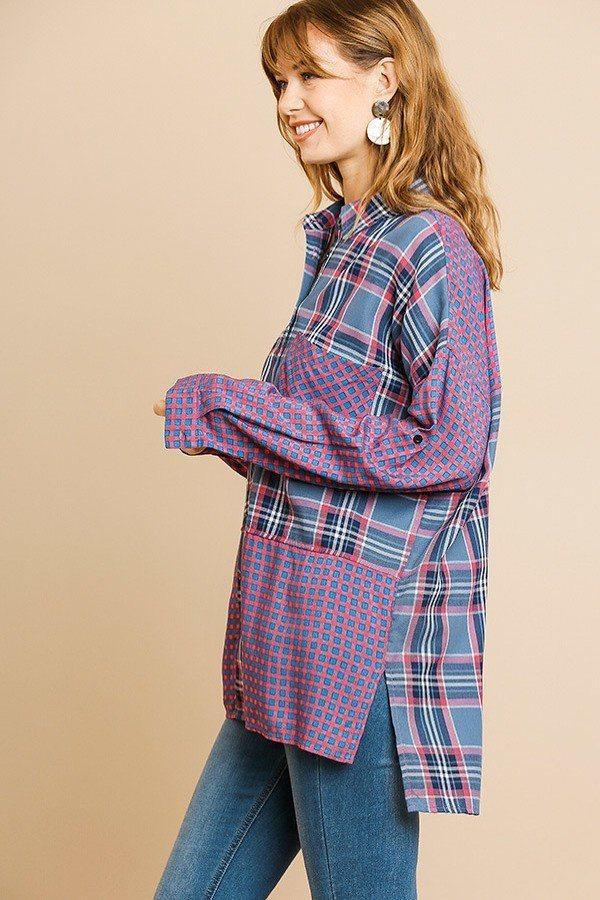 Plaid And Checkered Print Long Roll Up Sleeve Button Front Collared Top With Chest Pocket - CYFASHION