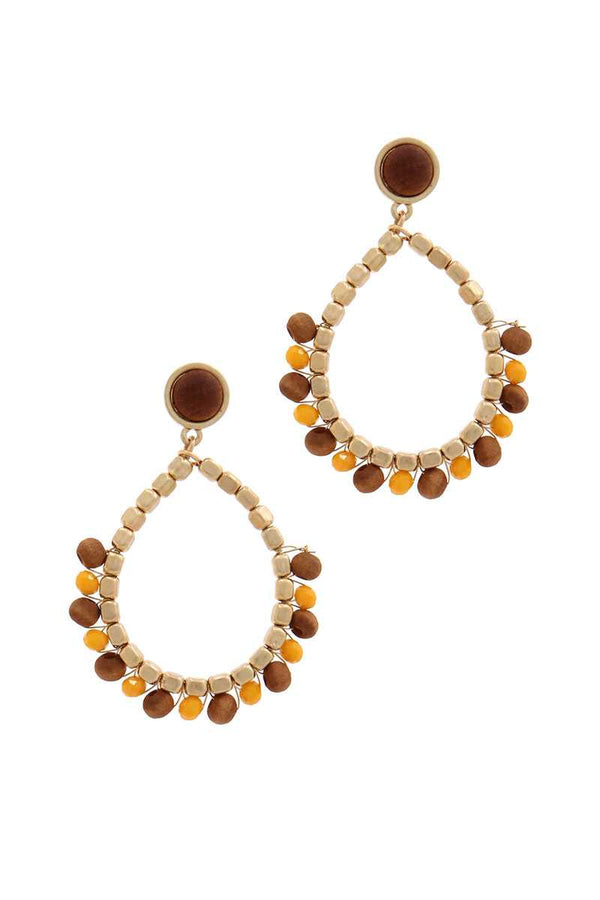 Circle Beaded Post Drop Earring - CYFASHION