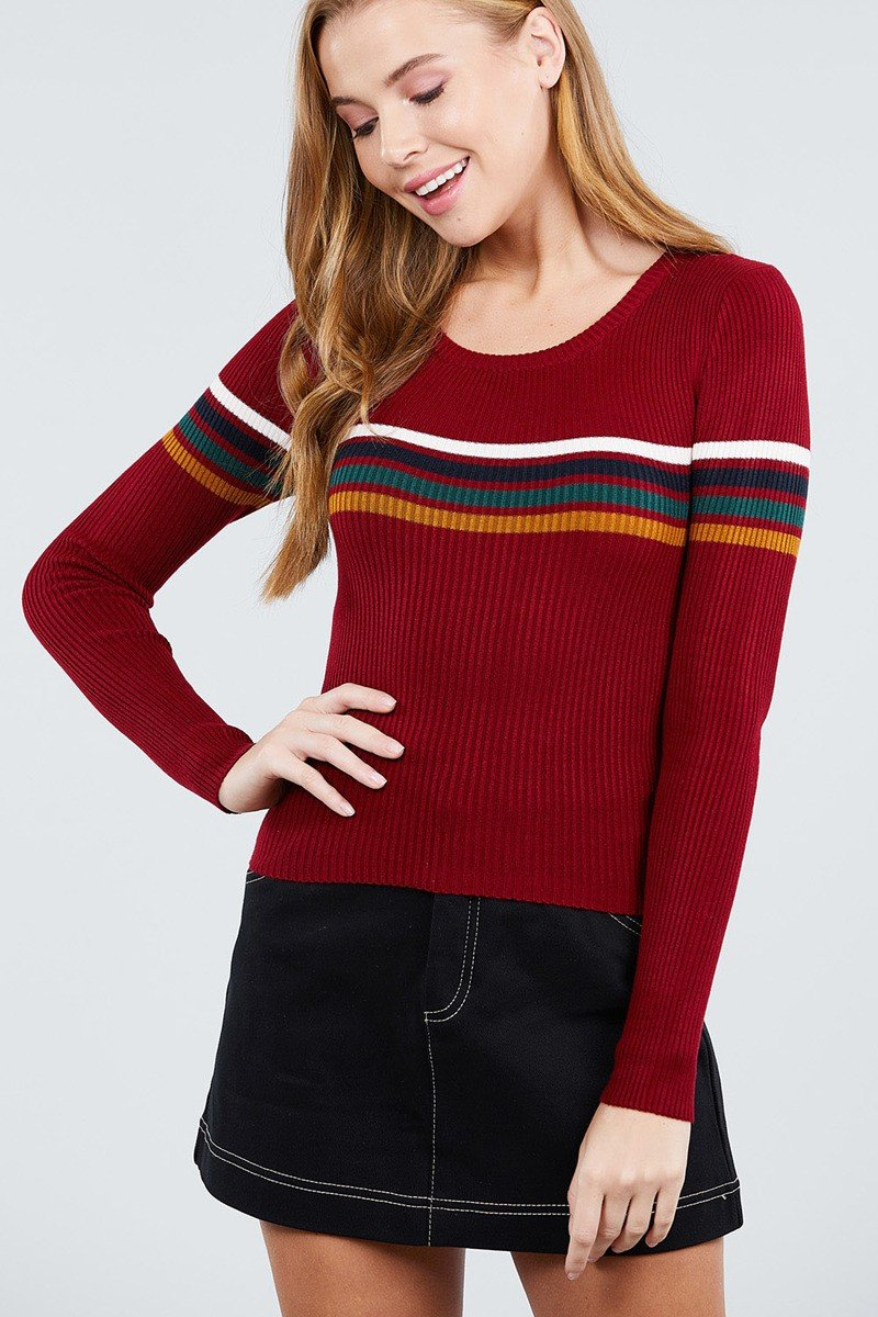 Long Sleeve Round Neck Stripe Sweater Top - CYFASHION