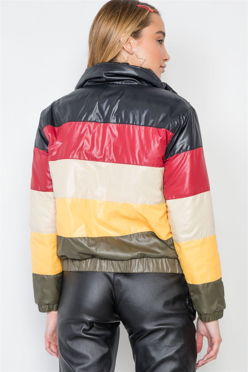 Multi Color Block Zip-up Puffer Jacket - CYFASHION