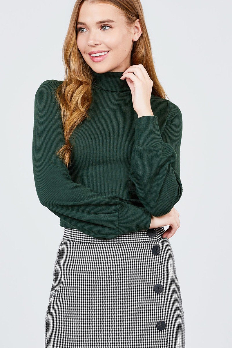 Long Sleeve Turtle Neck Rib Knit Top - CYFASHION