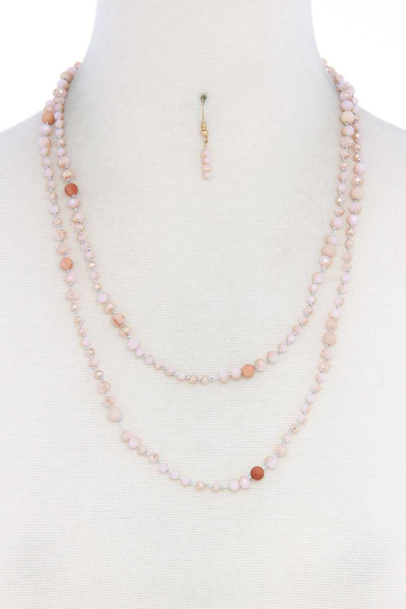 Beaded Fashion Long Necklace And Earring Set - CYFASHION
