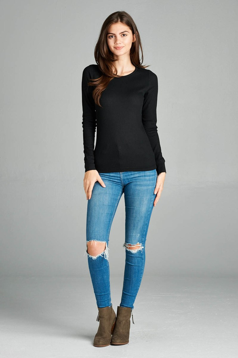 Long Sleeve Crew Neck Thermal Top - CYFASHION