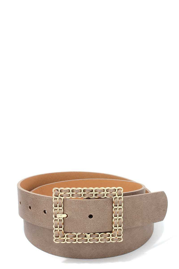 Square Shape Metal Buckle Pu Leather Belt - CYFASHION