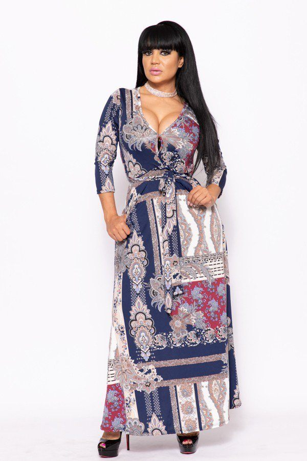 Elegant Maxi Dress With A Waist Tie - CYFASHION
