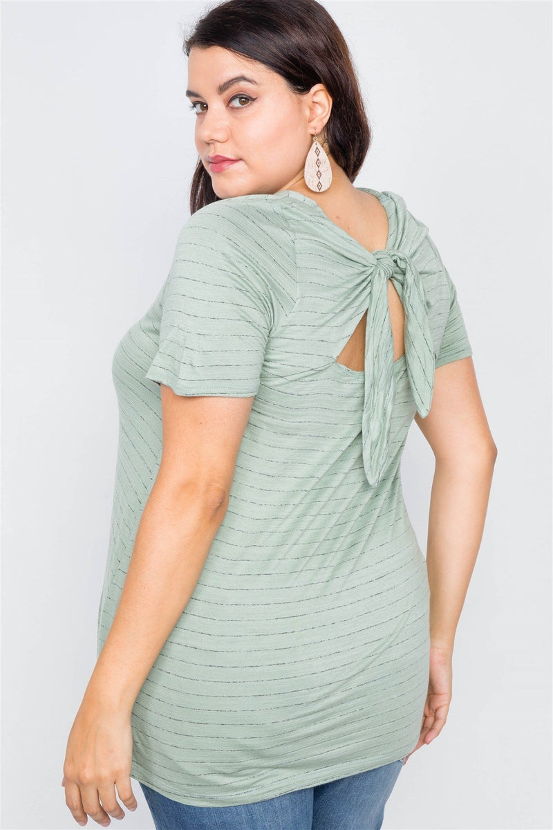 Plus Size Cut Out Back Bow Short Sleeve Top - CYFASHION