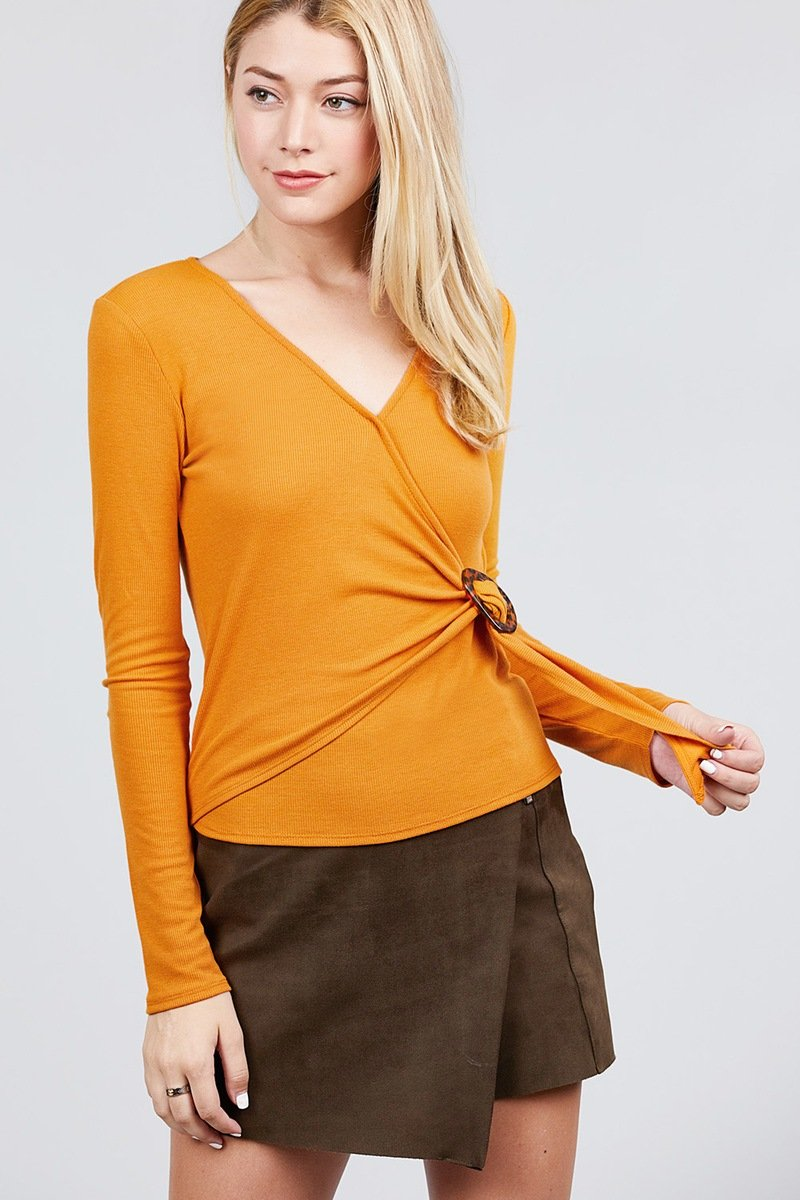 Long Sleeve Deep V-neck Side Buckle Detail Rib Knit Top - CYFASHION
