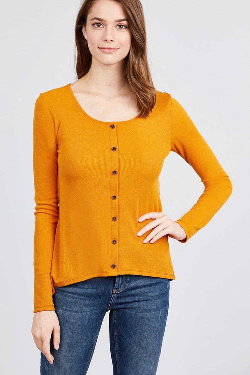 Long Sleeve Round Neck Button Detail Rib Knit Top - CYFASHION