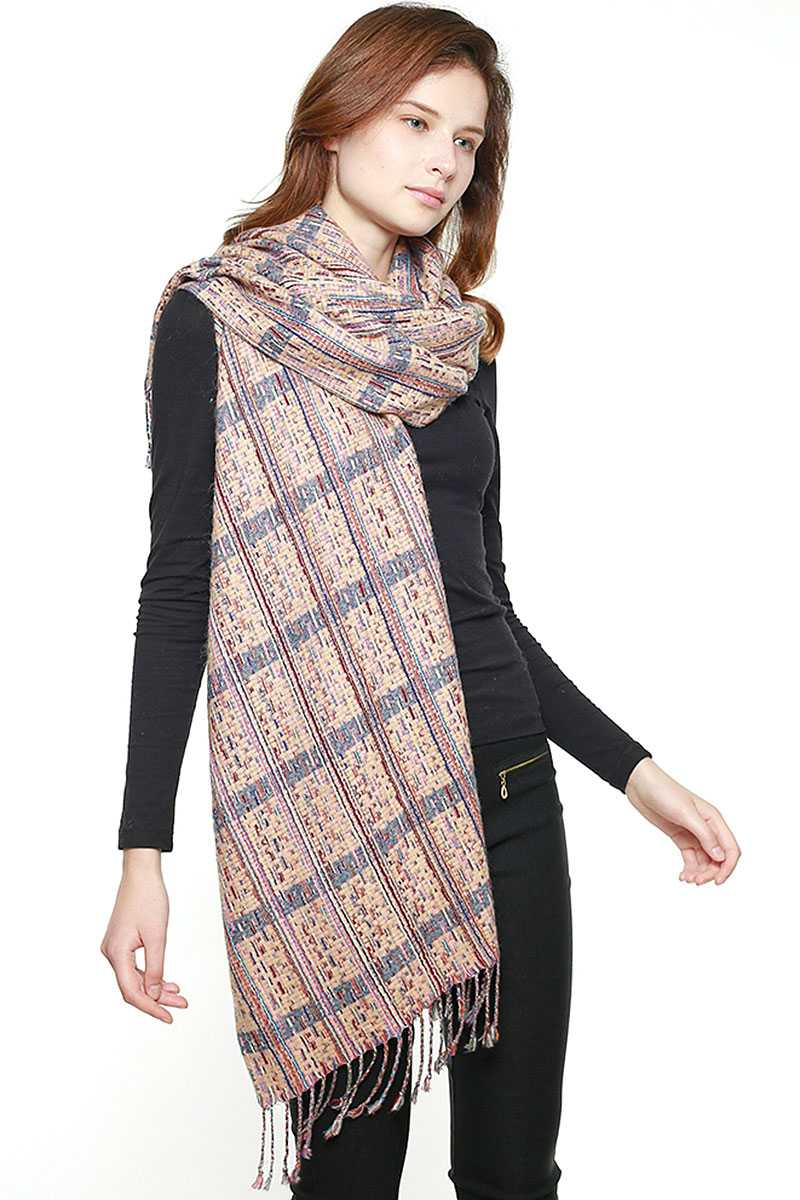 Multi Striped Fringed Scarf - CYFASHION