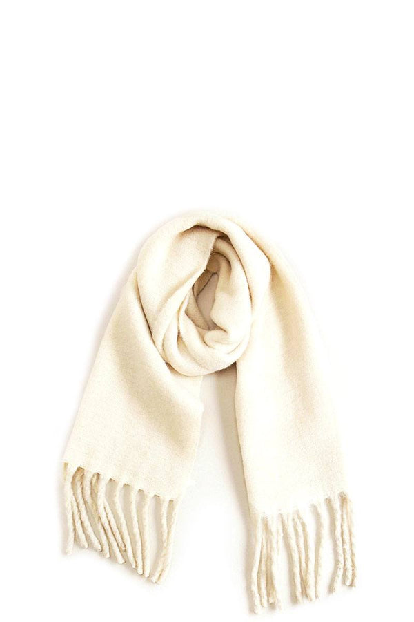 Solid Scarf With Chunky Fringe - CYFASHION