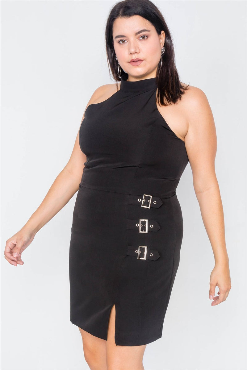 Plus Size Halter Buckle Hip Mini Dress - CYFASHION