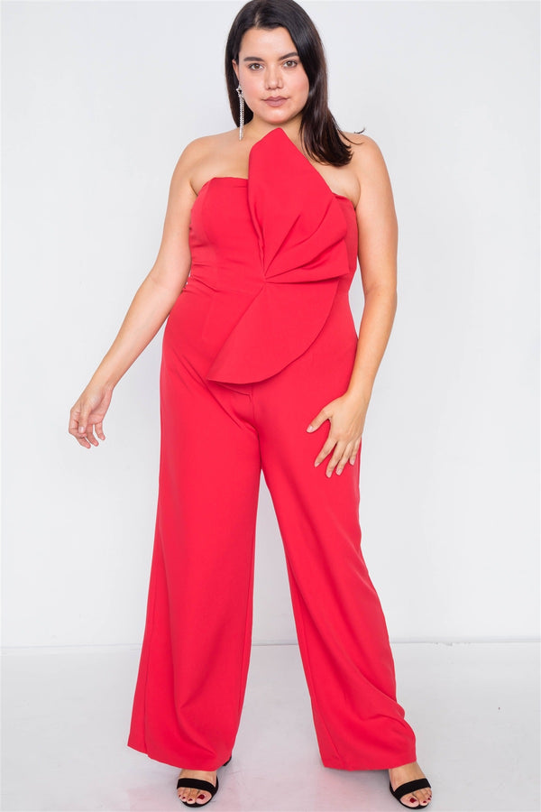 Plus Size Tailored Frill Wide Leg Sleeveless Cocktail Jumpsuit - CYFASHION