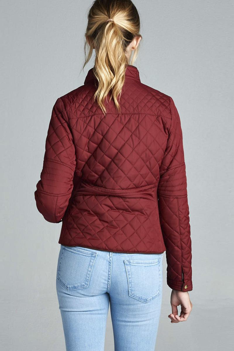 Quilted Padding Jacket With Suede Piping Details - CYFASHION