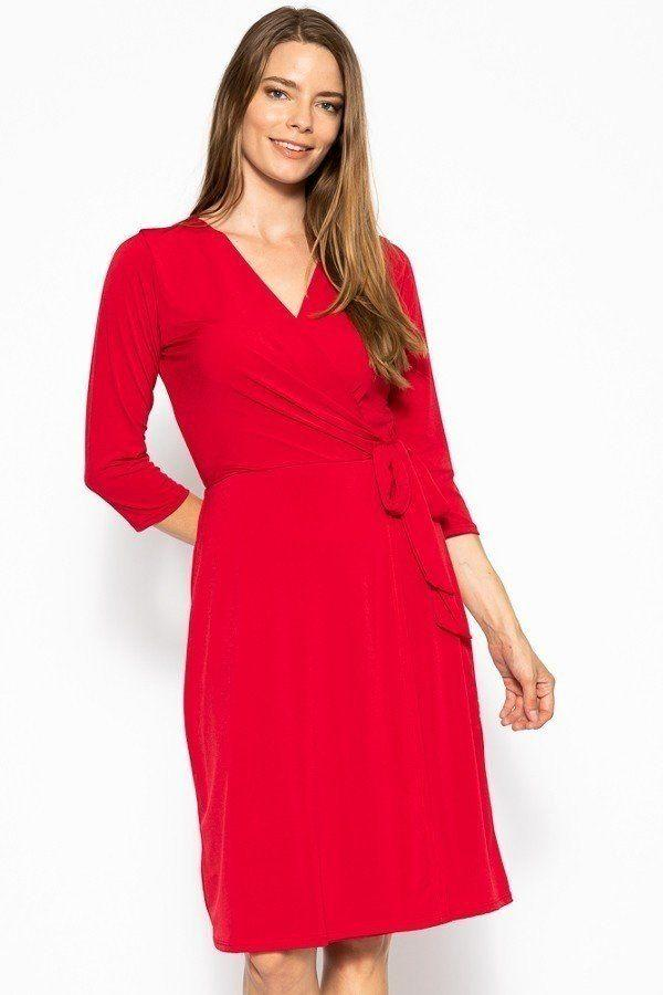 Cute Midi 3/4 Sleeve Dress With A Overlapping V-neck Line And A Belted Waist - CYFASHION