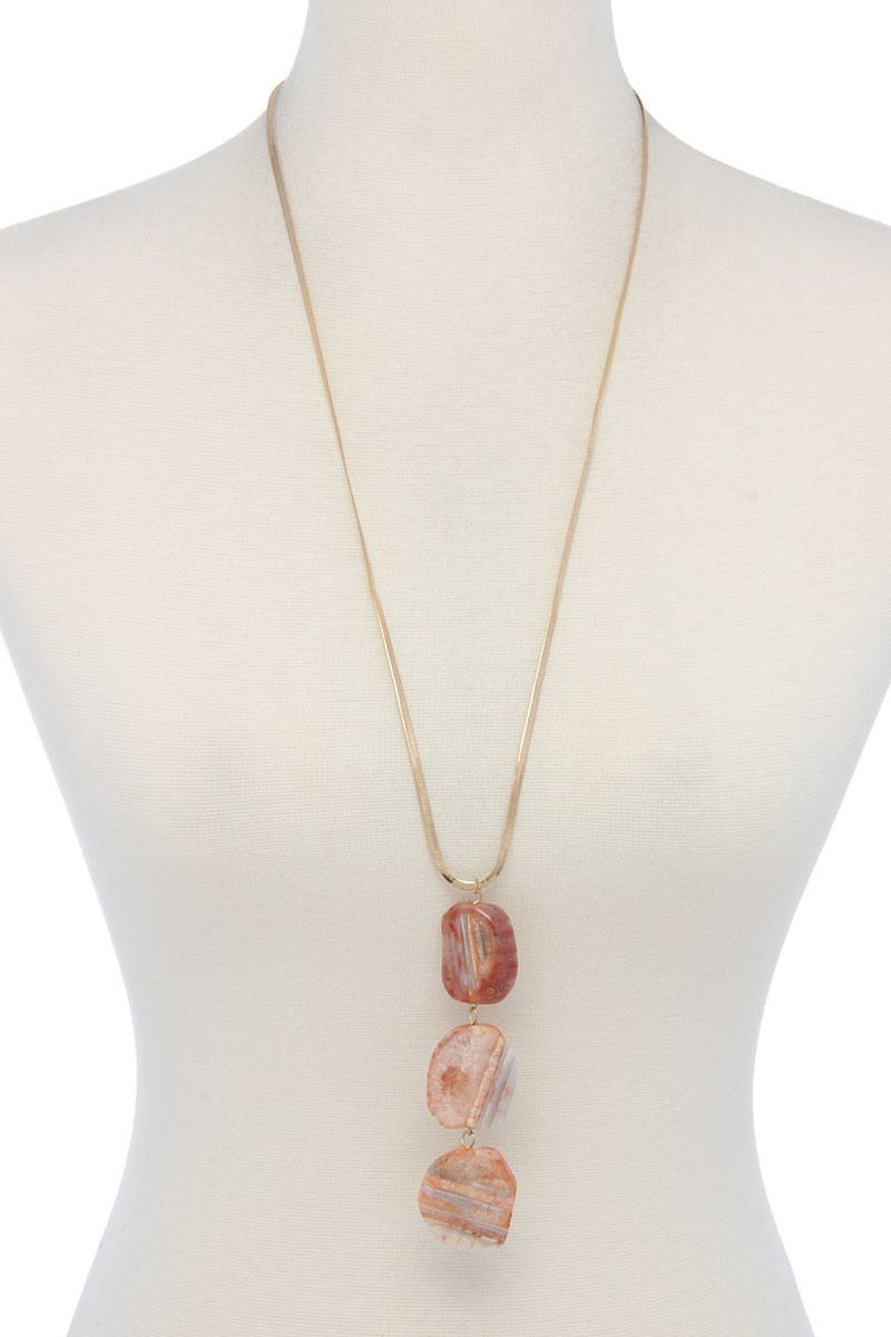 Natural Stone Flat Snake Chain Necklace - CYFASHION